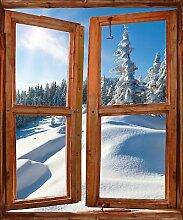 TATOUTEX Aufkleber L Auge Fenster Deko Die Alpen OEM 723, 80x100cm