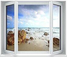 TATOUTEX Aufkleber L? Es Fenster Strand und Meer 5350, 80x60cm