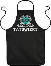 Tattoo Männer Fun Grillschürze Kochschürze - COOLER DAD …normaler Dad nur TÄTOWIERT zum Vatertag Geburtstag Dankeschön Papa Vater Dad - Schürze Latzschürze in schwarz : )