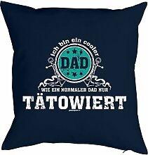 Tattoo Vater Fun Motiv Kissen mit Innenkissen - COOLER DAD …normaler Dad nur TÄTOWIERT für Männer zum Geburtstag Geschenk Vatertag für Ihn - Deko u Nutzkissen 40x40cm blau : )