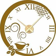 Tattoo Wanduhr inkl. Uhrwerk Wanddeko für Küche römische Zahlen Kaffeetasse (Uhr Gold//092 Kupfer)