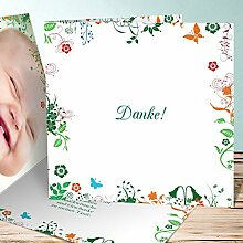 Taufe Danke Karte, Sophias Garten 140 Karten, Quadratische Klappkarte 145x145 inkl. weiße Umschläge, Grün