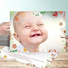 Taufe Danke Karten, Sophias Garten 150 Karten, Horizontal einfach 148x105 inkl. weiße Umschläge, Orange