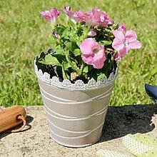 Taupe Grau Metall Blumentopf–Perfekt Petite geeignet für eine Fensterbank–H 14x Umfang 13,5cm