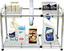 Taylor & Braun® 2Etagen unter Waschbecken Aufbewahrung Organizer erweiterbar Küche Regal Organizer mit 7herausnehmbaren Einsätze aus Metall