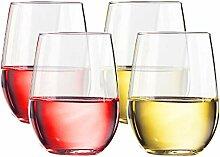 TaZa Unzerbrechliche Weingläser ohne Stiel:
