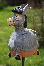 TB Keramik Gartenkugel Esel Tierfigur Handarbeit