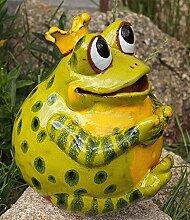 TB Keramik Gartenkugel Froschkönig Grün
