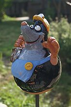 TB Keramik Maulwurf Handarbeit Gartenkugel
