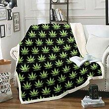 Tbrand Cannabisblätter Decke 150x200cm Gradient