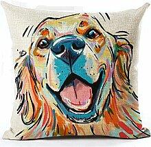 TBS Kissenbezug, Motiv: Hund, farbenfroh, tolle Geschenkidee, Kissenbezug, Textil, Labrador, 45 x 45 cm