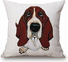 TBS Kissenbezug, Motiv: Hund, farbenfroh, tolle Geschenkidee, Kissenbezug, Textil, Basset Hound 1, 45 x 45 cm