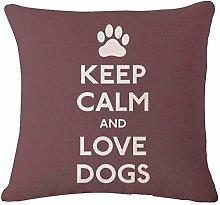 TBS Kissenbezug, Motiv: Hund, farbenfroh, tolle Geschenkidee, Kissenbezug, Textil, Keep Calm and Love Dogs, 45 x 45 cm