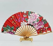 Tcaijing Faltfächer Satin-Fan Curved Ventilator