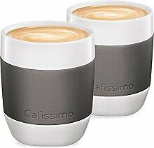 Tchibo Cafissimo XL Becher, Cappuccino Becher, Latte Macchiato Becher aus Porzellan mit Silikonmanschette, 2er Set, grau