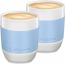 Tchibo Cafissimo XL Becher, Cappuccino Becher, Latte Macchiato Becher aus Porzellan mit Silikonmanschette, 2er Set, hellblau