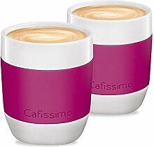 Tchibo Cafissimo XL Becher, Cappuccino Becher, Latte Macchiato Becher aus Porzellan mit Silikonmanschette, 2er Set, berry