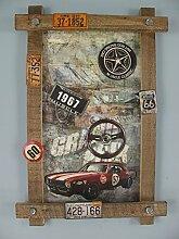 TD Holzbild mit Blechschilder und Emblemen US Deko