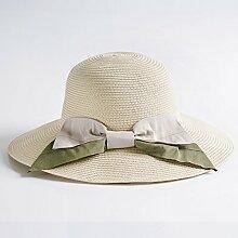 TD Visier-eleganter Zusammenklappbarer Sunhat Beiläufiger Eleganter Sonnenschutz-Strohhut Im Freien (Farbe : Beige)