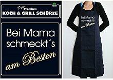 TE Trend Grill-/Kochschürze Spruch Bei Mama schmeckt's am Besten, schwarz
