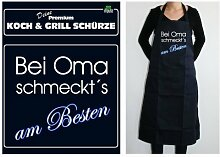 TE Trend Grill-/Kochschürze Spruch Bei Oma schmeckt's am Besten, schwarz