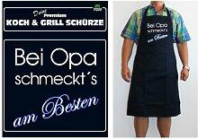 TE Trend Grill-/Kochschürze Spruch Bei Opa schmeckts am Besten, schwarz
