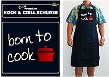 TE Trend Grill-/Kochschürze Spruch born to cook, schwarz