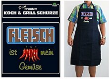 TE Trend Grill-/Kochschürze Spruch Fleisch ist mein Gemüse, schwarz