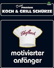 TE Trend Grill-/Kochschürze Spruch motivierter Anfänger, schwarz