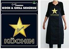 TE Trend Grill-/Kochschürze Spruch Sterne Köchin, schwarz