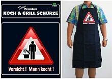 TE Trend Grill-/Kochschürze Spruch Vorsicht! Mann kocht!, schwarz