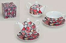 Tea for one ~ Herz Design ~ Set Teetasse + Kanne