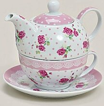 Tea for one ~ Rose rosa ~ Set Teetasse mit Kanne