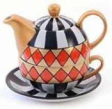 "Tea for one Set ""Harlekin"" Porzellan,"
