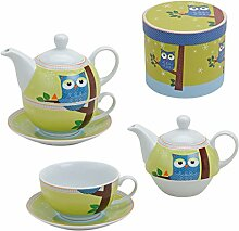 Tea for one Set Eule Porzellan Teekanne mit Tasse