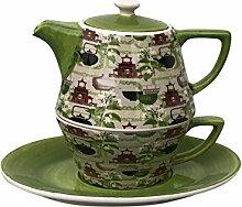 Tea for One Set Teekanne Retro grün Konisch Dekor