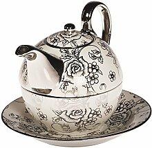 TEA FOR ONE Teeset Teekanne weiß silber Teetasse