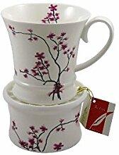 Tea Logic Tasse Cherry Blossom 350ml mit Stövchen