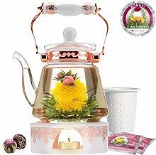 Teabloom Große Herdplatte Safe Glas Teekanne