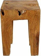 Teak Holz - Hocker Beistelltisch Teakwurzel Schemel viereckig - lasiert 40 cm