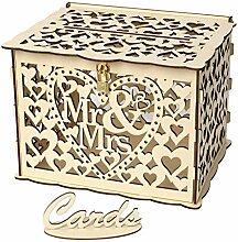 TeasyDay Hölzerne Hochzeitskarte Box mit Schloss,
