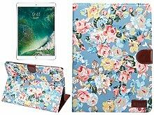 TechCode iPad Mini 1/2/3 Hülle, iPad Screen Schutzhülle Luxus Buch Style Klassische Blume Muster Folio Hülle mit Kartenslots Magnetische Smart Hülle für iPad Mini 1/2/3 (Blau)