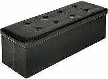 TecTake 110x38x38 cm Faltbarer Sitzhocker Aufbewahrungsbox Sitzwürfel mit Stauraum - diverse Farben - (Schwarz | Nr. 401822)