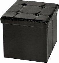 TecTake 38x38x38 cm Faltbarer Sitzhocker Sitzwürfel mit Stauraum Kunstleder - diverse Farben - (Schwarz (Nr. 401472))