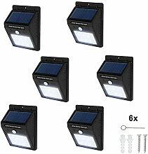 TecTake 6 LED Solar Außenleuchte Wandlampe Gartenleuchte mit Bewegungsmelder - diverse Mengen - (6 Stück | Nr. 401737)