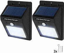 TecTake 6 LED Solar Außenleuchte Wandlampe Gartenleuchte mit Bewegungsmelder - diverse Mengen - (2 Stück | Nr. 401735)