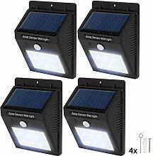 TecTake 6 LED Solar Außenleuchte Wandlampe Gartenleuchte mit Bewegungsmelder - diverse Mengen - (4 Stück | Nr. 401736)