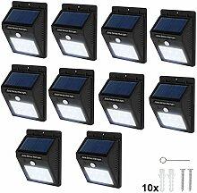 TecTake 6 LED Solar Außenleuchte Wandlampe Gartenleuchte mit Bewegungsmelder - diverse Mengen - (10 Stück | Nr. 401739)