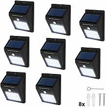 TecTake 6 LED Solar Außenleuchte Wandlampe Gartenleuchte mit Bewegungsmelder - diverse Mengen - (8 Stück | Nr. 401738)