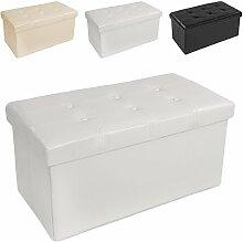 TecTake 80x40x40 cm Faltbarer Sitzhocker Aufbewahrungsbox Sitzwürfel mit Stauraum Kunstleder weiß